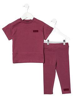 river-island-mini-girls-ri-one-t-shirt-and-legging-set-purple