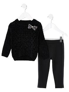 river-island-mini-girlsnbspjumper-ampnbsplegging-set-black