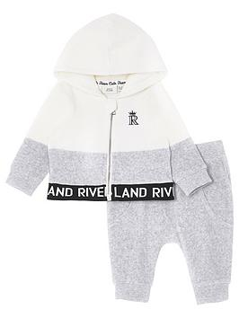 river-island-mini-baby-velour-zip-through-hoodie-and-jog-pant-set--nbspgrey