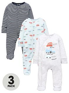 mini-v-by-very-baby-boysnbsptransport-sleepsuits-3-packnbsp--multi