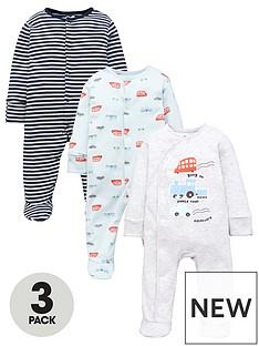 mini-v-by-very-baby-boysnbsptransport-sleepsuits-3-packnbsp--multi