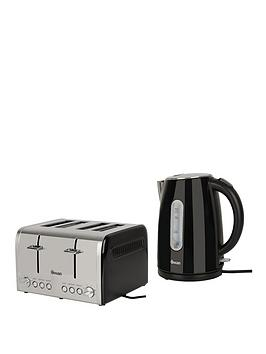 Swan Kettle And 4-Slice Toaster Pack - Black