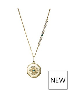 the-love-silver-collection-gold-plated-sterling-silver-birthstone-swarovski-crystal-disc-charm-and-tennis-chain-necklace