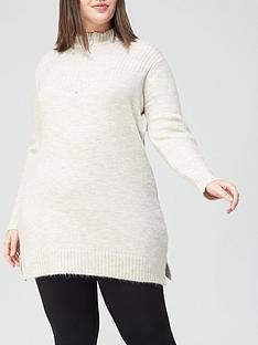 v-by-very-curve-zip-high-neck-knitted-dress-oatmeal