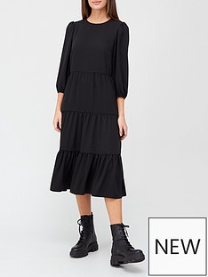 v-by-very-tiered-midi-dress-black