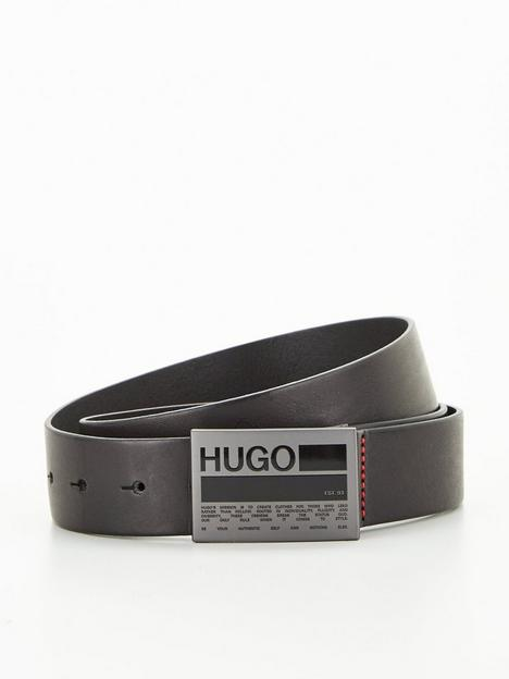 hugo-gary-logo-plaque-leather-beltnbsp--blacknbsp