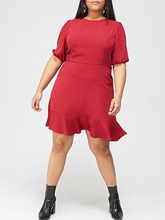 v-by-very-curve-flippy-hem-mini-dress-red