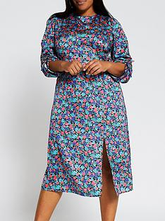 ri-plus-floral-cowl-neck-tie-sleeve-midi-dress-blue