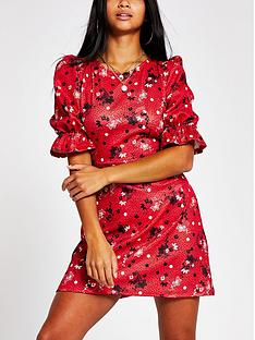 ri-petite-printed-puff-sleeve-mini-dress-red
