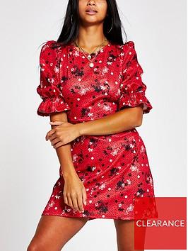 ri-petite-printed-puff-sleeve-mini-dress-red