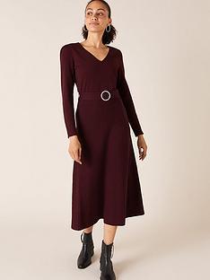 monsoon-v-neck-belted-dress-berry