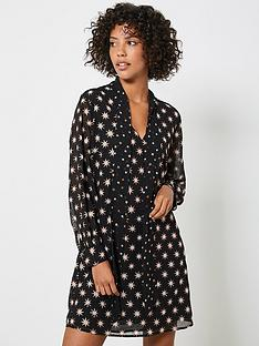 mint-velvet-luna-star-print-tie-neck-mini-dress-black