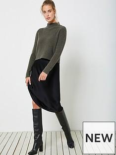 mint-velvet-wrap-back-lace-black-slip-dress-khaki