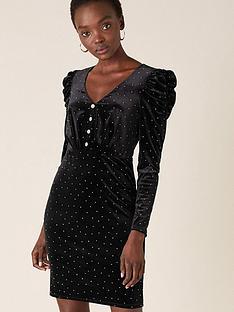 monsoon-khloe-heatseal-velvet-short-dress-black