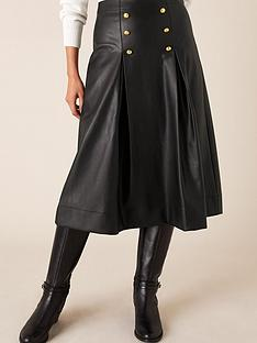 monsoon-pleather-button-full-skirt