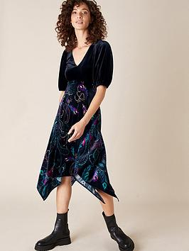 monsoon-persephone-peacock-print-hanky-hem-dress-black