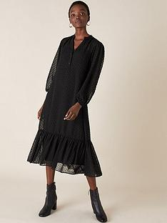 monsoon-black-dobby-devore-midi-dress