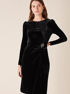 monsoon-hannah-velvet-midi-brooch-dress