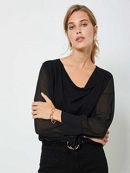 mint-velvet-cowl-woven-sleeve-jumper-black