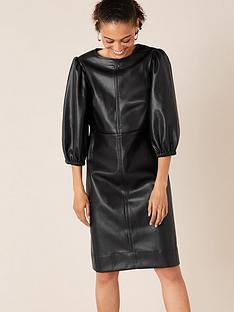 monsoon-pu-round-neck-dress-black