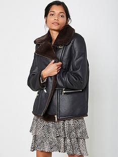 mint-velvet-bonded-zip-aviator-jacket-black