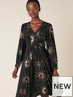 monsoon-star-foil-print-midi-dress-black
