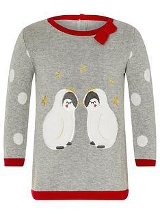 monsoon-baby-girls-penguin-knit-dress-grey
