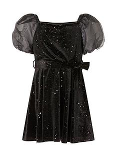 monsoon-monsoon-girls-sparkle-puff-sleeve-velvet-dress-black