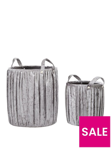 set-of-2-pleated-velvet-touch-round-storage-baskets
