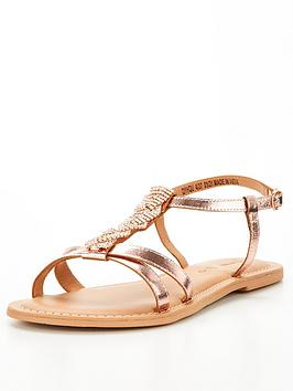 V By Very Jewel Trim Leather Sandal - Rose Gold