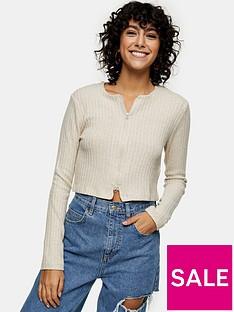 topshop-double-zip-rib-cardigan-oatmealnbsp