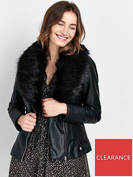 wallis-glam-fur-collar-biker-jacket-black