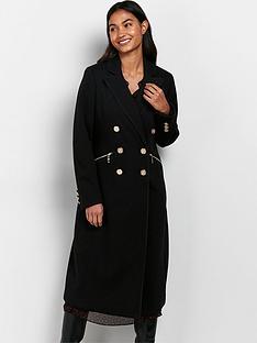 wallis-chain-detail-twill-maxi-coat-black