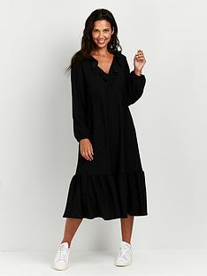 wallis-frill-neck-midinbspdress-blacknbsp