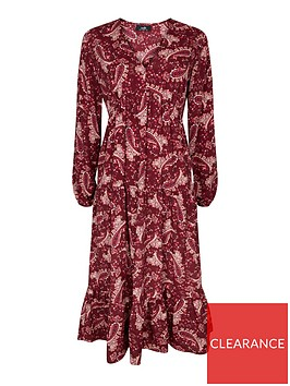 wallis-paisley-tiered-dress-red