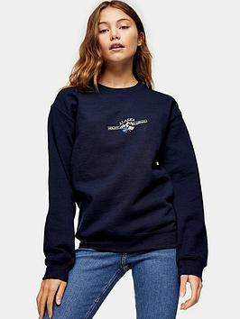 topshop-mini-alaska-embroidered-sweat-blue