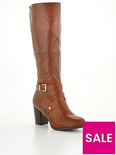 wallis-woven-pu-high-leg-buckle-bootsnbsp--tan