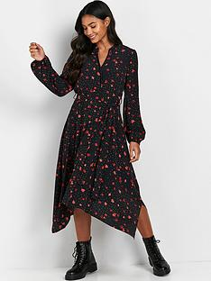 wallis-dotty-floral-shirt-dress-black