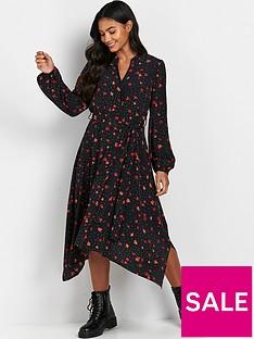 wallis-dotty-floral-shirt-dress-black