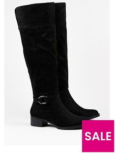 wallis-over-the-knee-flat-buckle-boot-black