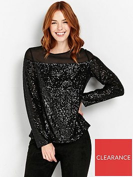 wallis-sequin-long-sleeve-top-black