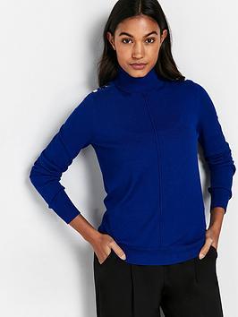 wallis-shoulder-stud-polo-neck-top-blue