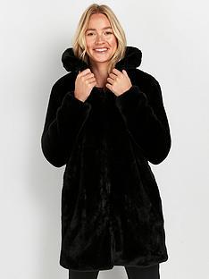 wallis-plush-fur-midi-coat-black