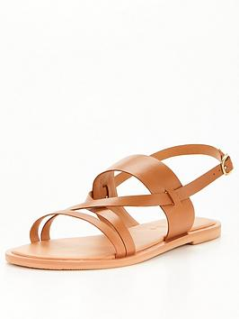 V By Very Wide Fit Leather Strappy Sandal - Tan