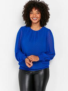 wallis-plain-dobby-shirred-top-blue