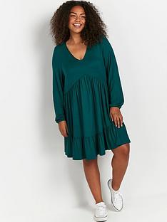 evans-frill-hem-dress-green