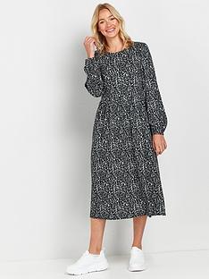 wallis-animal-midi-dress-grey