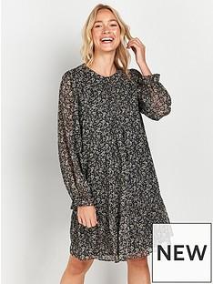 wallis-paisley-lurex-frill-hem-mini-dress--black