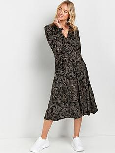 wallis-running-spot-jersey-midi-dress-black