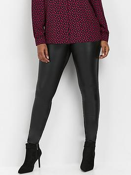 wallis-petite-faux-leather-pu-ponte-legging-black
